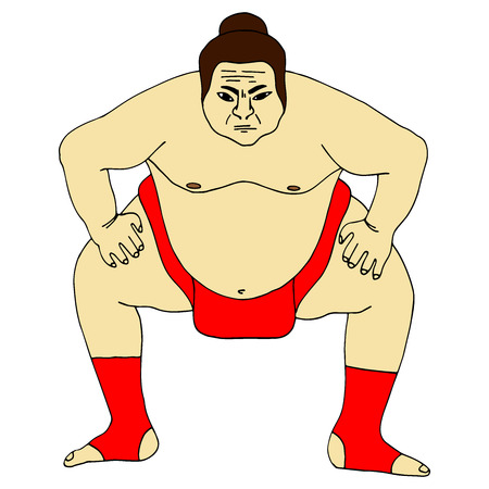Isolated illustration of sumo wrestler, colorful drawing, white background