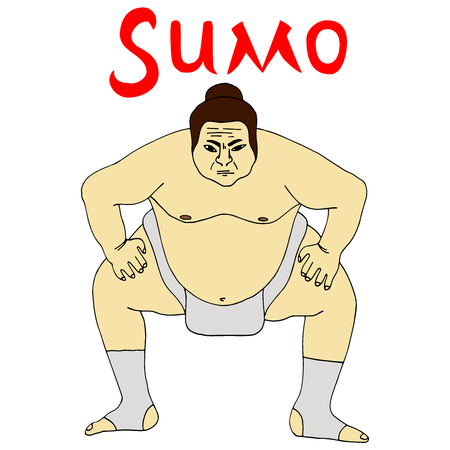 Isolated illustration of sumo wrestler, colorful drawing, white background with inscription Sumo