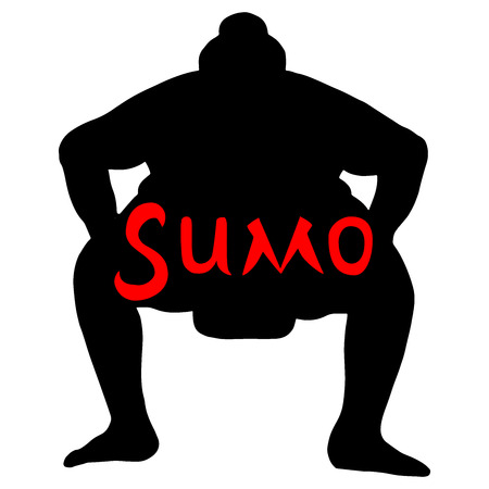Isolated illustration of sumo wrestler, silhouette drawing, white background with red inscription Sumo Illustration