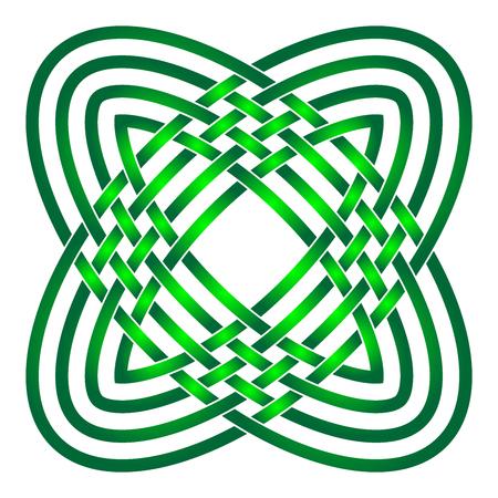 Noeud celtique en cercle Nuances de vert.