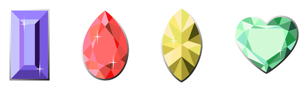 Set of colorful diamonds of different cut shapes