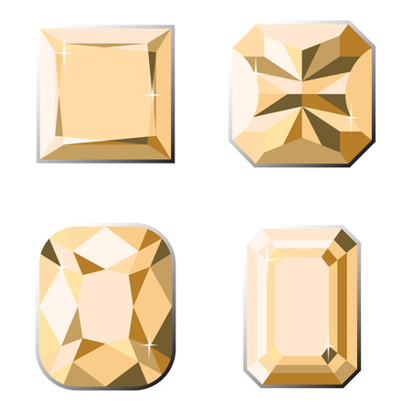 Set of precious stones with different types of cut.