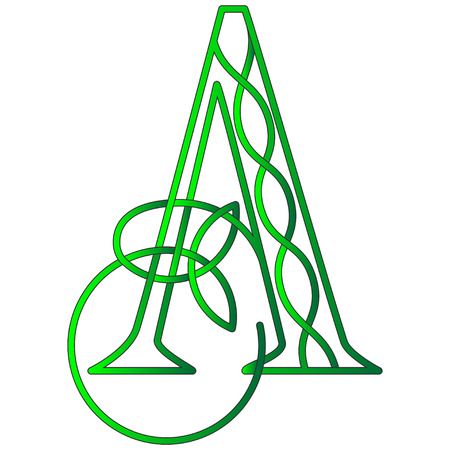 Green letter A in Celtic style with knot of shamrock
