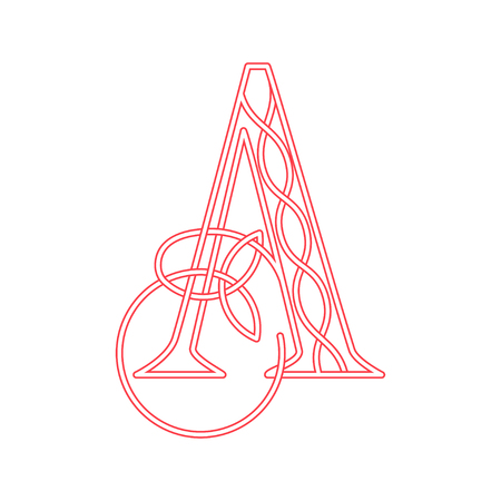 Pink letter A in Celtic style with knot of shamrock