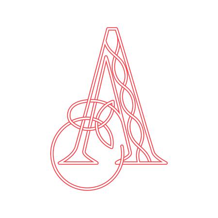 Roze letter A in Keltische stijl met knoop van klaver