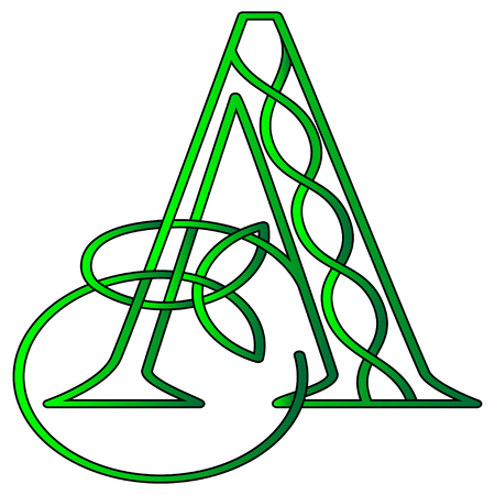 Initial letter A in Celtic style with knot of shamrock Çizim