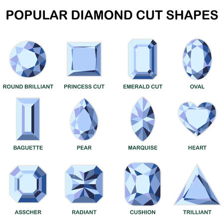 Popular diamond cut shapes - round brilliant, baguette, asscher, princess cut, pear, radiant, emerald cut, marquise cushion oval heart trilliant