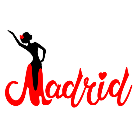 Beautiful hand written text typography design of europe european city madrid name logo with silhouette of a dancing flamenco dancer suitable for tourism or visit promotion