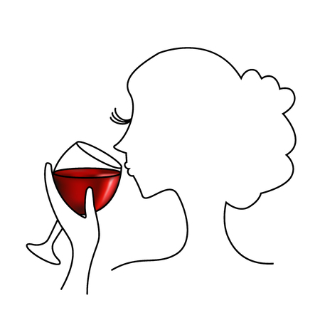 Dégustation de vin rouge - Illustration avec une femme qui goûte un verre de vin rouge