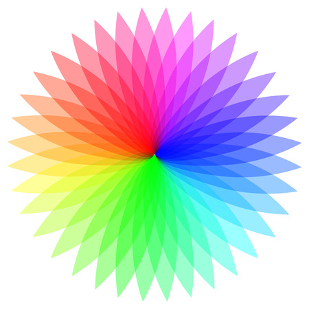 Rainbow color wheel. Colorful illustration guide. Isolated. Illustration