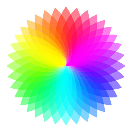 Rainbow color wheel. Colorful illustration guide. Isolated. Stock Illustratie