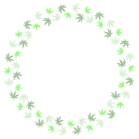Round frame from marijuana leaves. Suitable for use in the design of packaging, advertising, posters