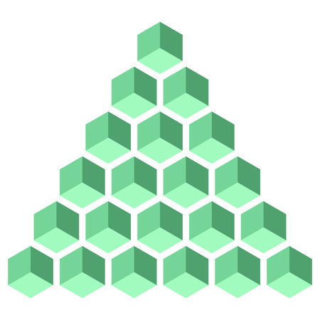 Illusive figure constructed of isometric cubes.