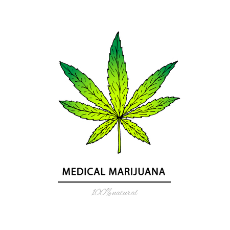Illustration of medical marijuana. Suitable for use  in the desi Illustration