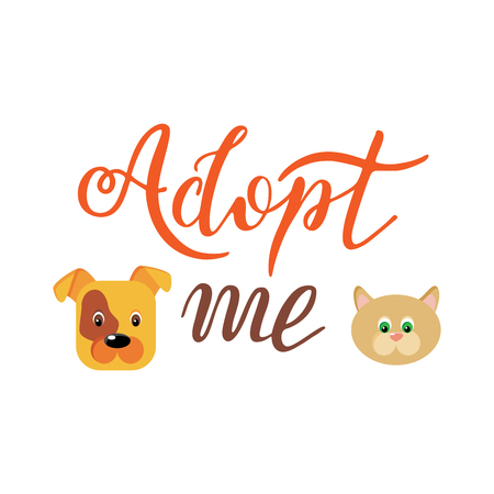 Hand drawn Adopt me lettering text. Design for cards, poster, logo, banner on white background. Help animal concept. Pet adoption. Illustration