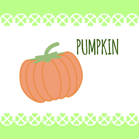 Isolated image of orange fresh pumpkin on white background in flat style. Illustration