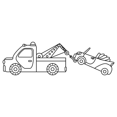 Towing truck for transportation emergency cars. Illustration isolated on white background.