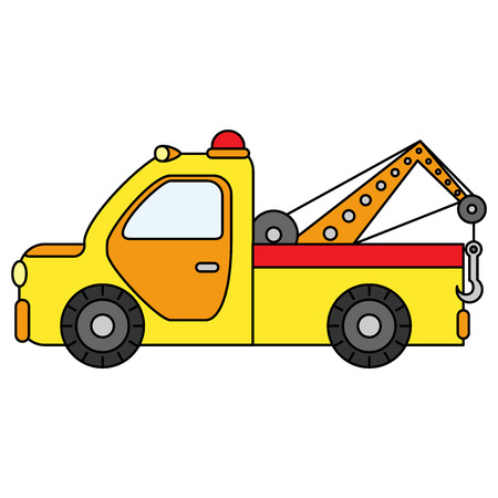 Colorful towing truck for transportation emergency cars. Illustration isolated on white background. Stock Illustratie