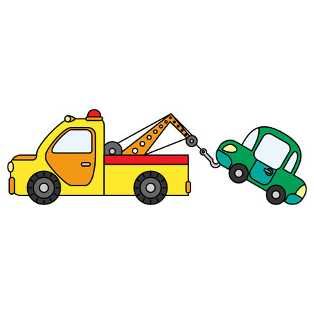 Colorful towing truck for transportation emergency cars. Illustration isolated on white background. Illustration