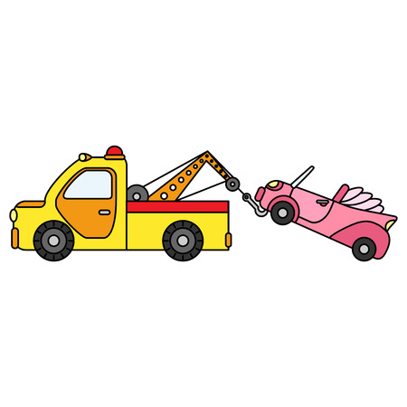 Colorful towing truck for transportation emergency cars. Illustration, isolated on white background. Illustration