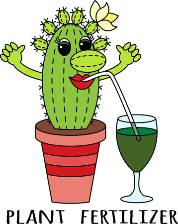 Fertilizers for succulents. Cartoon funny colorful cactus drinks a fertilizer cocktail. Suitable for advertising of companies engaged in the production and sale of plant fertilizers for indoor plants.
