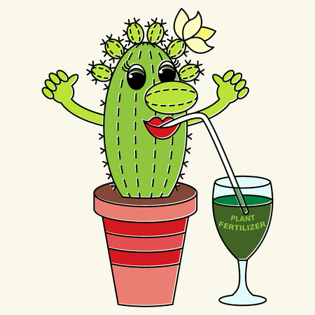 Cartoon funny colorful cactus drinks a fertilizer. Suitable for advertising of companies engaged in the production and sale of plant fertilizers for indoor plants.