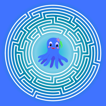Maze children game: help the octopus go through the labyrinth