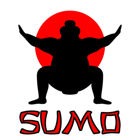 Silhouette of wrestler sumo against the background of the Japanese flag with the inscription sumo Ilustração