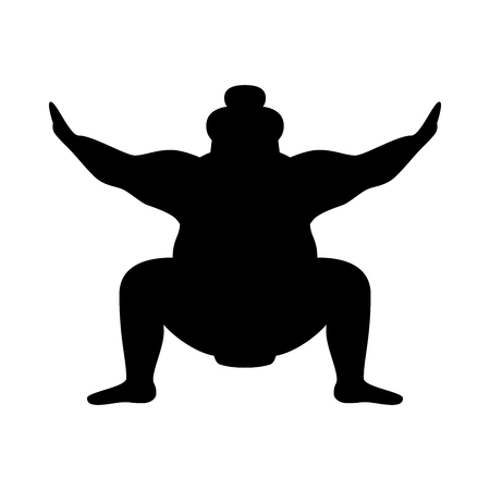 Silhouette of wrestler sumo isolated on white background