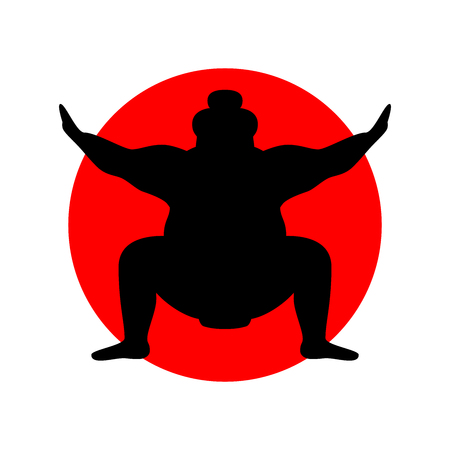 Silhouette of wrestler sumo against the background of the Japanese flag Illustration