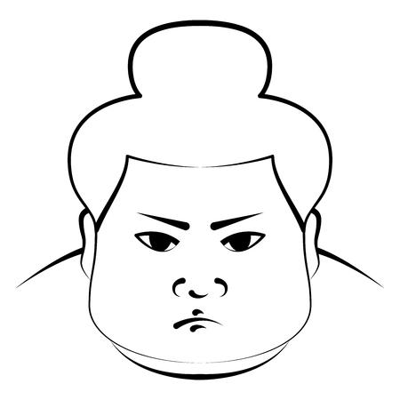 Sumo wrestlers head, imitation of pen drawing
