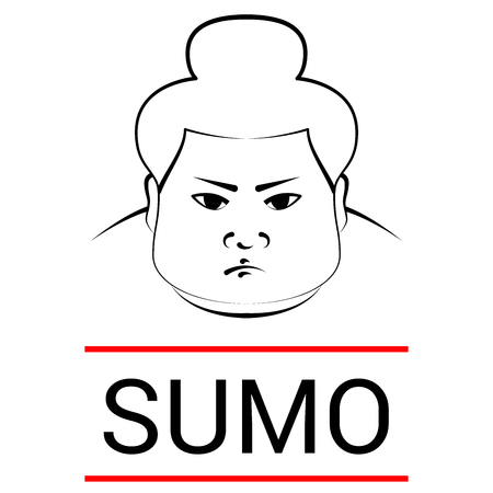 Sumo wrestler's head with the inscription sumo. imitation of pen drawing