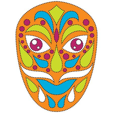 Tribal ethnik mask. Colorful illustration on white background