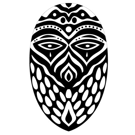 Tribal ethnik mask. Black and white illustration on white background