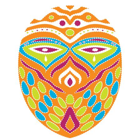 部族のエスニックマスク。白い背景にカラフルなイラスト 写真素材 - 99116799