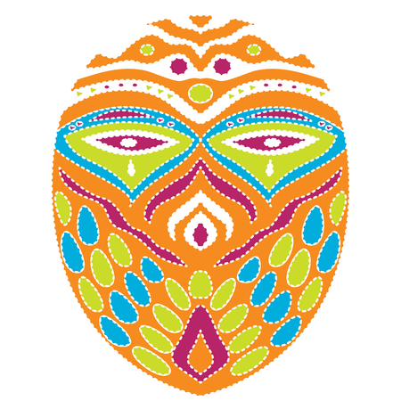 Tribal ethnik mask. Colorful illustration on white background
