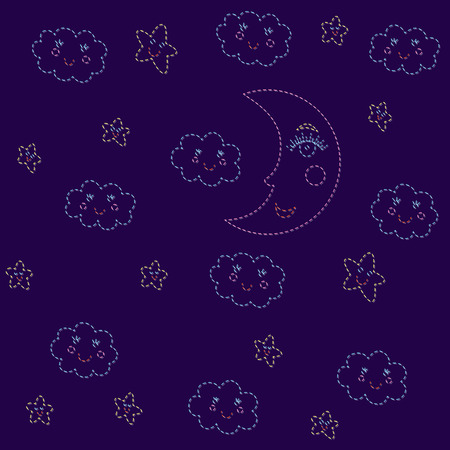 Seamless pattern with moon and clouds and stars.