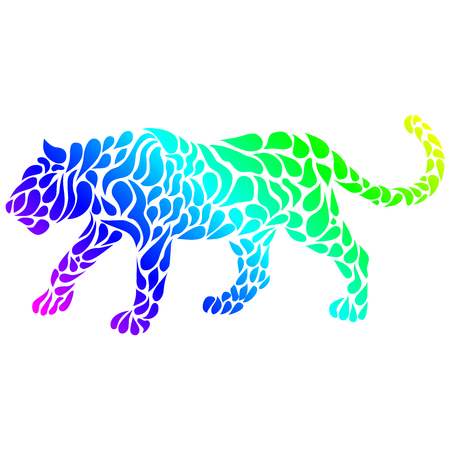 Silhouette of a panther in a tattoo style. Rainbow colors in white background. Creative colourful wild cat