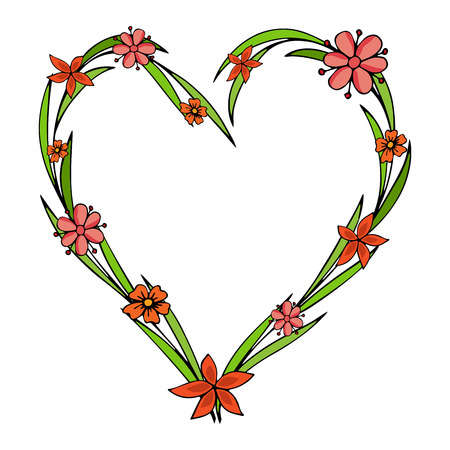 Hand drawn flowers arranged in a shape of heart. Doodle style. Wildflowers wreath isolated on white background. Illustration