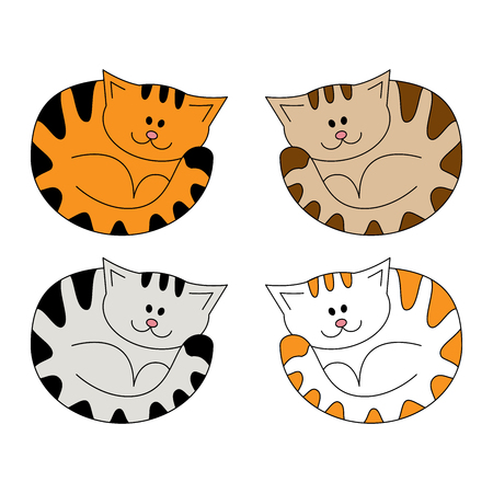 Cartoon cute lying cat. Illustration isolated on a white background in doodle style Illustration