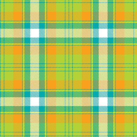 Tartan seamless pattern. Orange, blue and green plaid. Tartan flannel background. Trendy tiles Illustration for wallpapers