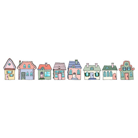 Houses on a street located in one row. Illustration of a city landscape with townhouse. Doodle style. Suitable for advertising materials of real estate agencies