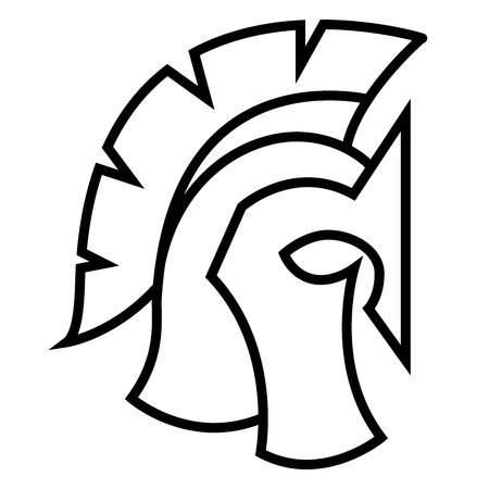 Spartan Helmet silhouette, Greek or Roman warrior - Gladiator, legionnaire soldier. Illustration