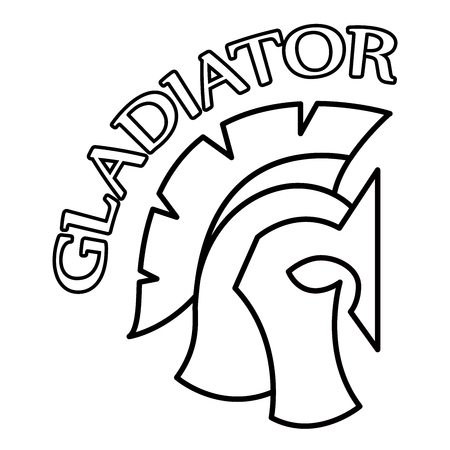 Spartan Helmet silhouette with inscription Gladiator, Greek or Roman warrior - Gladiator, legionnaire soldier. Иллюстрация