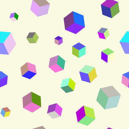 Abstract seamless pattern with colorful cubes. Optical effects.