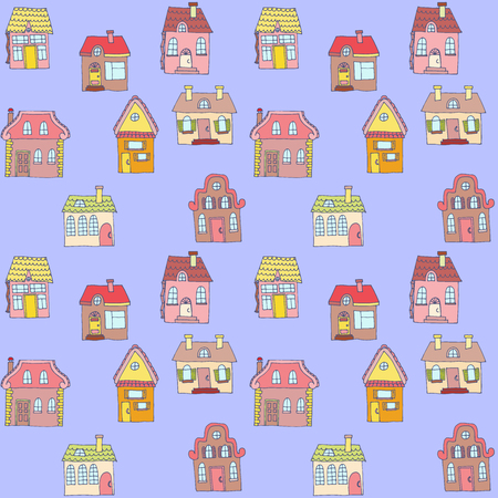 Seamless colorful pattern with houses