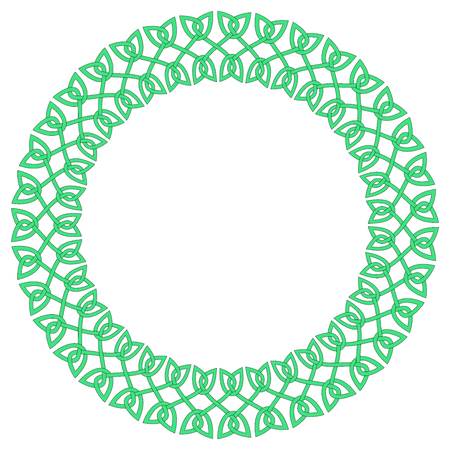 Round Celtic knots frame. Traditional medieval frame pattern ill.