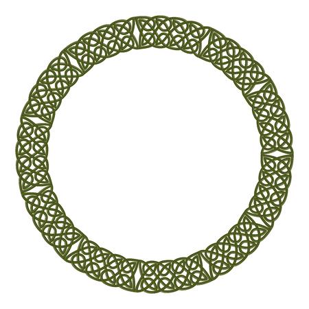 Round celtic knots frame. Traditional medieval frame pattern illustration. Scandinavian or Celtic ornament as border or frame