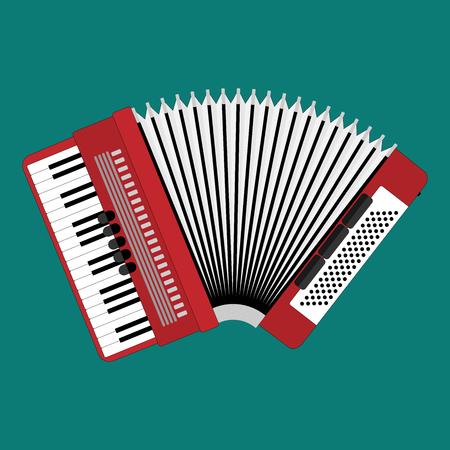 Classical bayan or accordion. Musical instrument. Accordion flat style. Bayan closeup. Realistic illustration. Ilustração