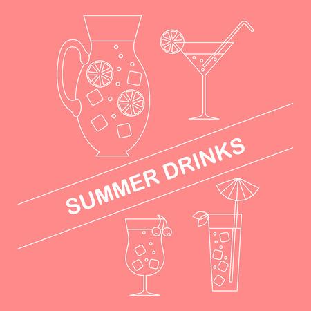 Set of summer drinks in flat style. Ilustração